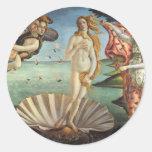 The Birth of Venus by Botticelli, Renaissance Art Round Sticker