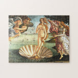 """The Birth Of Venus Jigsaw Puzzle<br><div class=""""desc"""">The Birth of Venus-A work of art by the Florentine painter Sandro Botticelli. Painted between 1484-1486, it depicts the goddess of love Venus, after emerging from the sea as an adult woman, Venus stands on a seashell, being blown to shore by Zephyr, god of the west wind.Horae, goddesses of the...</div>"""