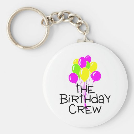 The Birthday Crew Balloons Key Chain