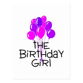 The Birthday Girl Pink Purple Balloons Postcard