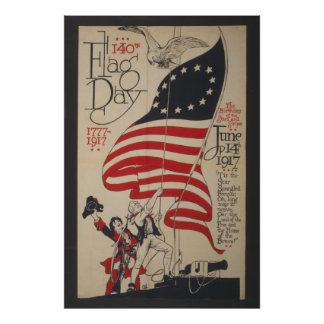 The birthday of the Stars & Stripes 140th flag day Poster