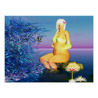 The Birthing Tree Fantasy Pregnant Elf Poster