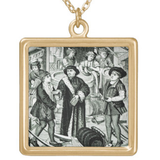 The Bishop of Tournai receiving the Tithe of Beer Gold Plated Necklace