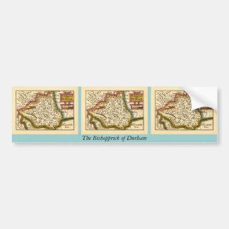 The Bishopprick of Durham County Map, England Car Bumper Sticker