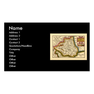 The Bishopprick of Durham County Map, England Double-Sided Standard Business Cards (Pack Of 100)