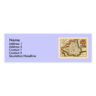 The Bishopprick of Durham County Map, England Double-Sided Mini Business Cards (Pack Of 20)
