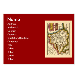 The Bishopprick of Durham County Map, England Large Business Cards (Pack Of 100)