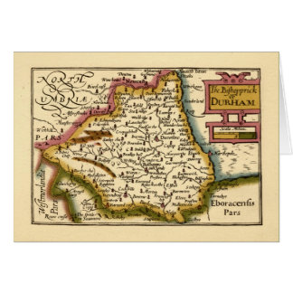 The Bishopprick of Durham County Map, England Greeting Card