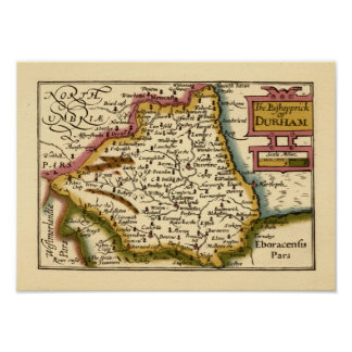 The Bishopprick of Durham County Map, England Poster