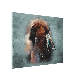 The Bison - Wrapped Canvas Canvas Print