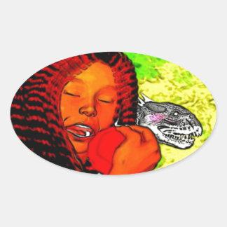 'The Black Bible': Adam & Eve Oval Sticker