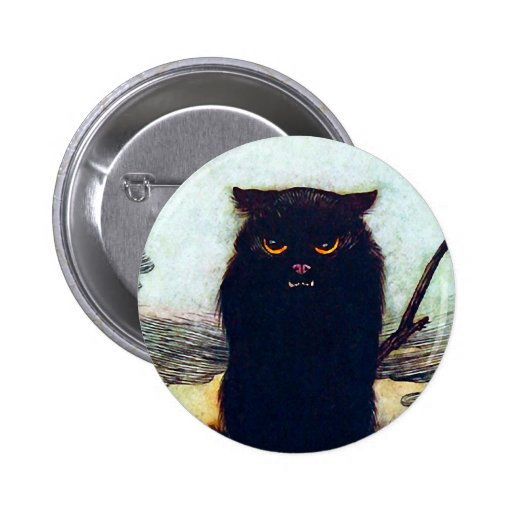 The Black Cat Pinback Buttons