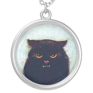 The Black Cat Round Pendant Necklace