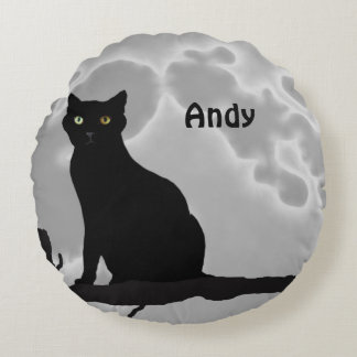 The black cat round pillow