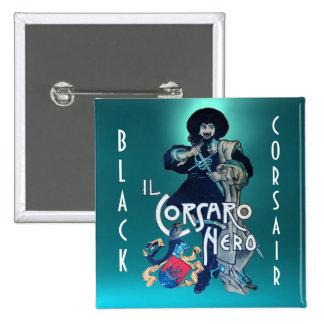 THE BLACK CORSAIR gem blue aquamarine Button