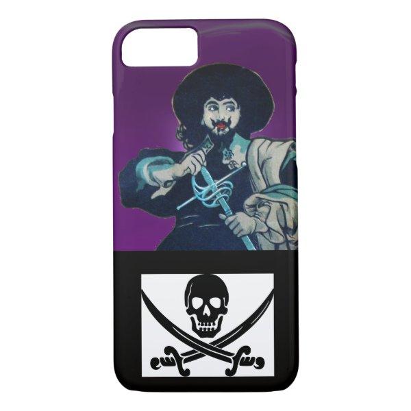 THE BLACK CORSAIR SKULL CROSSED SWORDS Purple iPhone 8/7 Case