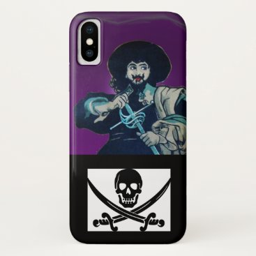 Halloween Themed THE BLACK CORSAIR SKULL CROSSED SWORDS Purple iPhone X Case