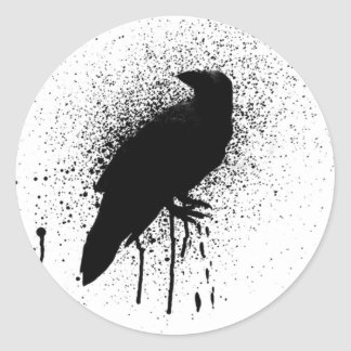The black crow classic round sticker