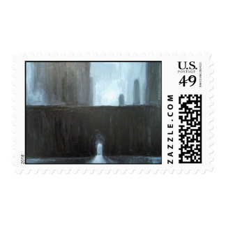 The Black Gate ( abstract cityscape painting) Postage
