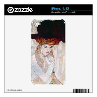 The Black Hat by Gustav Klimt Decal For The iPhone 4