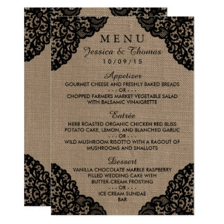The Black Lace On Rustic Burlap Wedding Collection Card