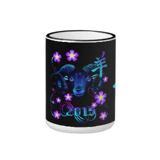The Black Ram-flowers Ringer Mug