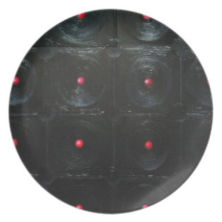 The Black Red Dents ( black minimalism ) Dinner Plate