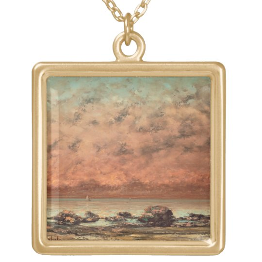 The Black Rocks at Trouville, 1865- 66 Gold Plated Necklace