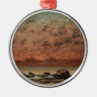 The Black Rocks at Trouville by Gustave Courbet Metal Ornament
