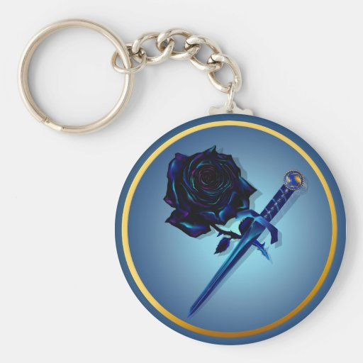 The Black Rose and Dagger Keychain