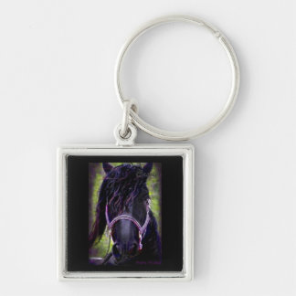 The Black Stallion Silver-Colored Square Keychain