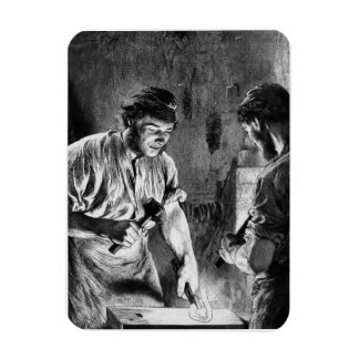 """The Blacksmith"" Vintage Illustration. Rectangular Magnets"