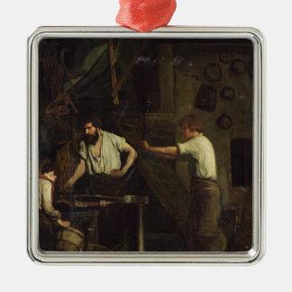 The Blacksmiths, Memory of Treport, 1857 Square Metal Christmas Ornament
