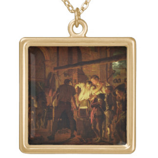 The Blacksmith's Shop (oil on canvas) Gold Plated Necklace