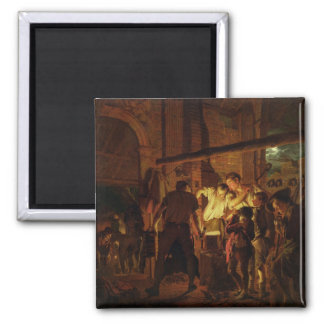 The Blacksmith's Shop (oil on canvas) 2 Inch Square Magnet