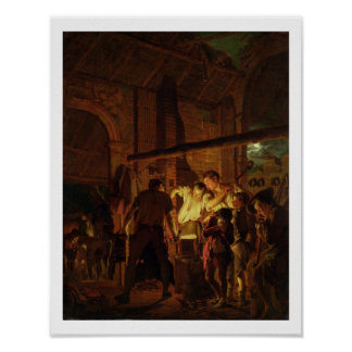 The Blacksmith's Shop (oil on canvas) Poster