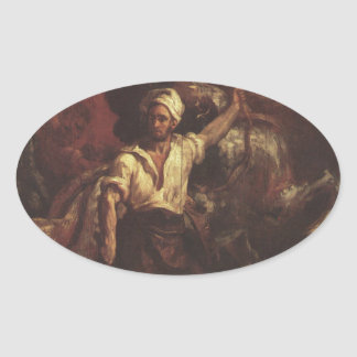 The Blacksmith's Signboard by Theodore Gericault Oval Sticker