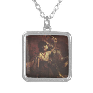 The Blacksmith's Signboard by Theodore Gericault Square Pendant Necklace