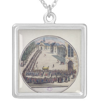The Blessed Sacrament being carried Square Pendant Necklace