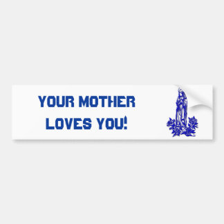 The Blessed Virgin Mary ( with blue roses ) Bumper Sticker