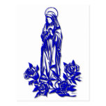 The Blessed Virgin Mary ( with blue roses ) Post Card