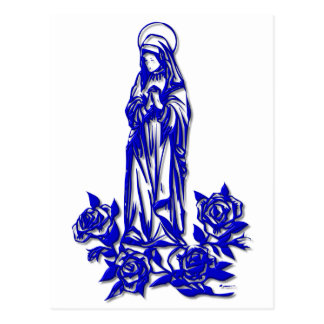The Blessed Virgin Mary ( with blue roses ) Postcard