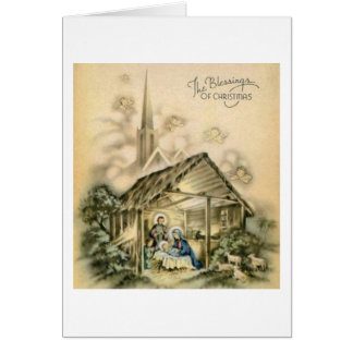 The Blessings of Christmas Nativity Scene Greeting Card