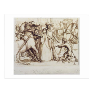 The Blind Man, 1853 (pen, ink, wash and graphite o Postcard