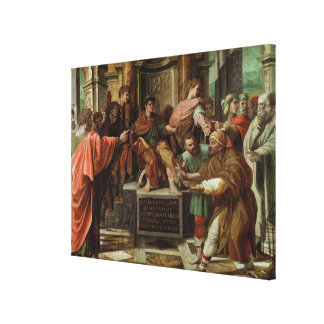 The Blinding of Elymas (cartoon for the Sistine Ch Canvas Print