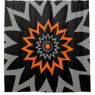 The Blooming Expanse Black And Orange Shower Curtain