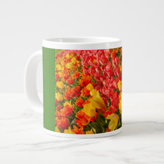THE BLOSSOMING OF TULIPS  IN A PARK  JUMBO MUG