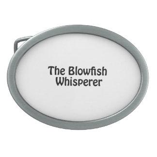 the blowfish whisperer oval belt buckle