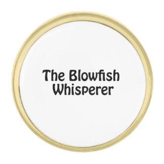 the blowfish whisperer gold finish lapel pin