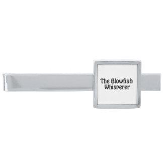 the blowfish whisperer silver finish tie bar